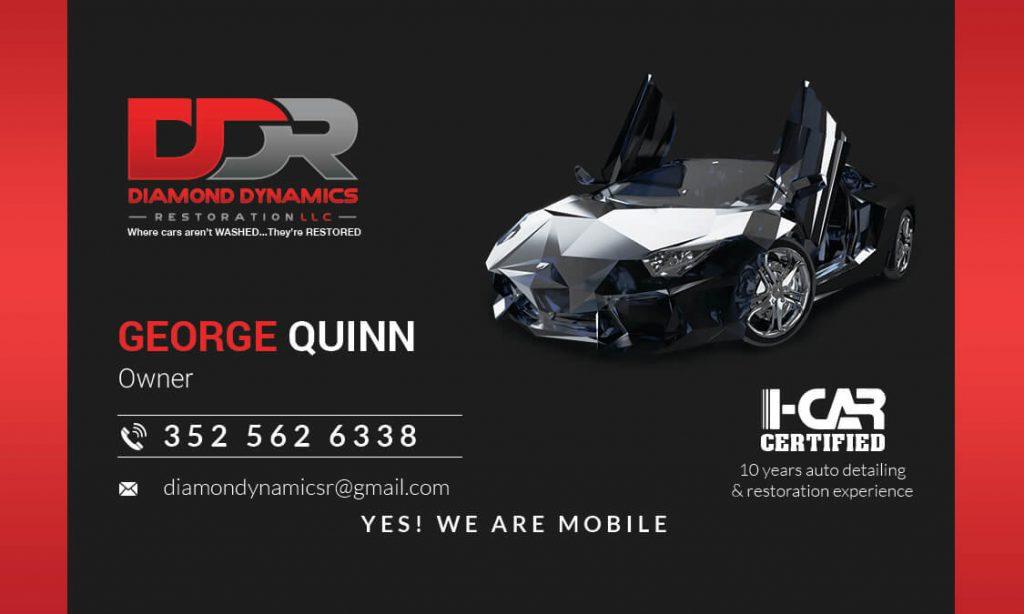 Diamond Dynamics Restoration Business Card Front