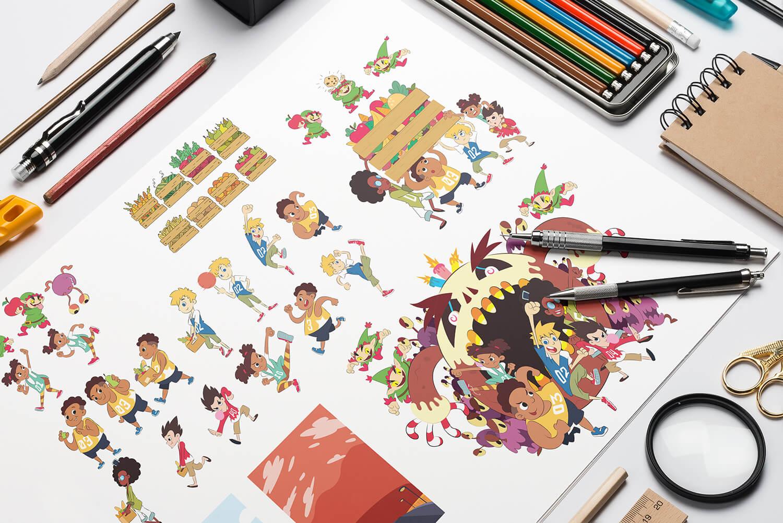 Chunky & Friends Illustration Mockup