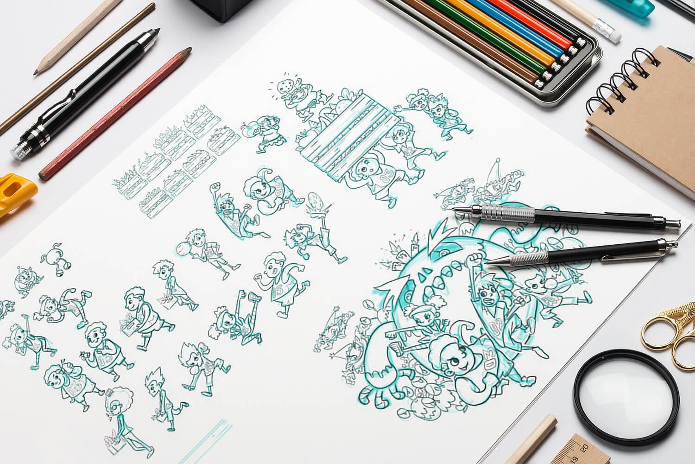 Chunky & Friends Sketch Mockup